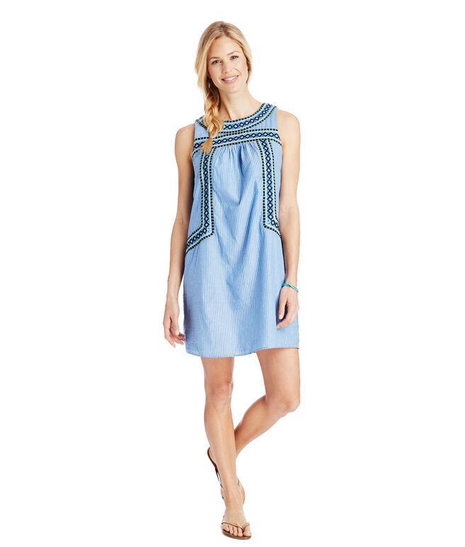 Yarn Dye Stripe Embroidered Shift Dress