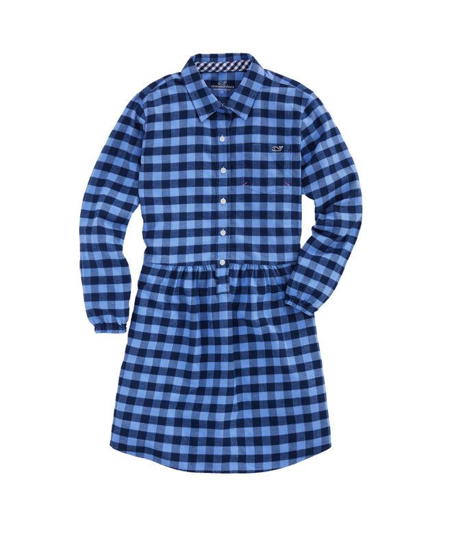 Girls Lighthouse Gingham Flannel Shirt Dress
