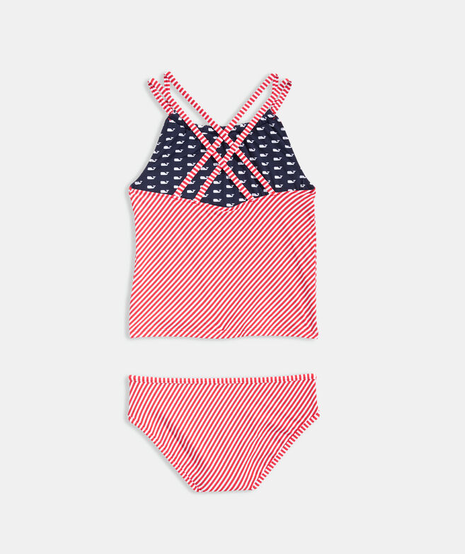 Girls' Whales and Stripes Reversible Tankini