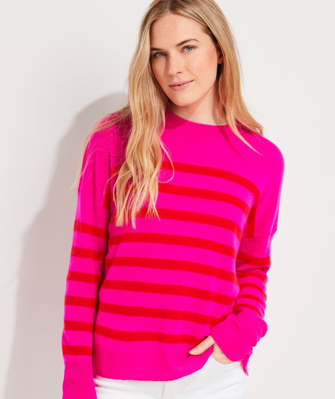 Lofty Stripe Cashmere Crewneck Sweater