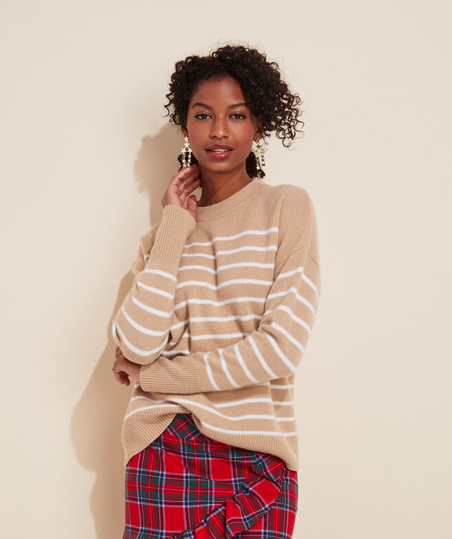 Breton Stripe Lofty Cashmere Crewneck Sweater