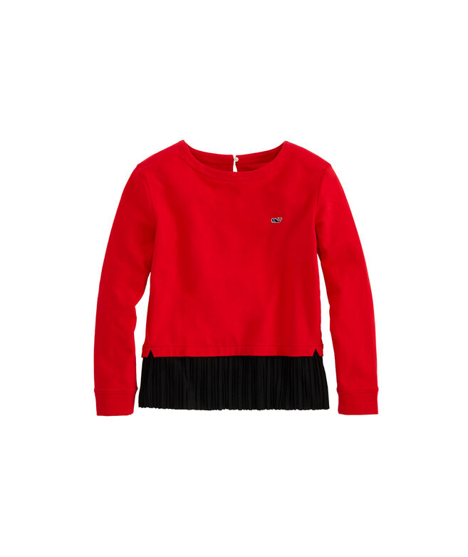 Girls Mixed Media Pleated Sweatshirt