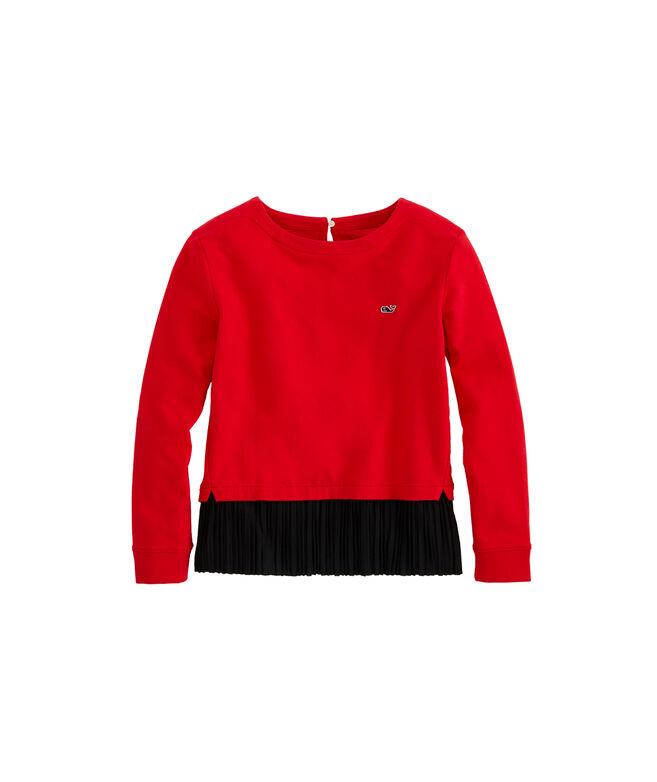 Girls Mixed Media Pleated Sweatshirt