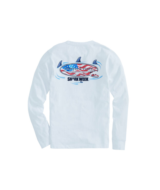 Boys Long-Sleeve Shark Week Circling Flag Surfboard Pocket T-Shirt