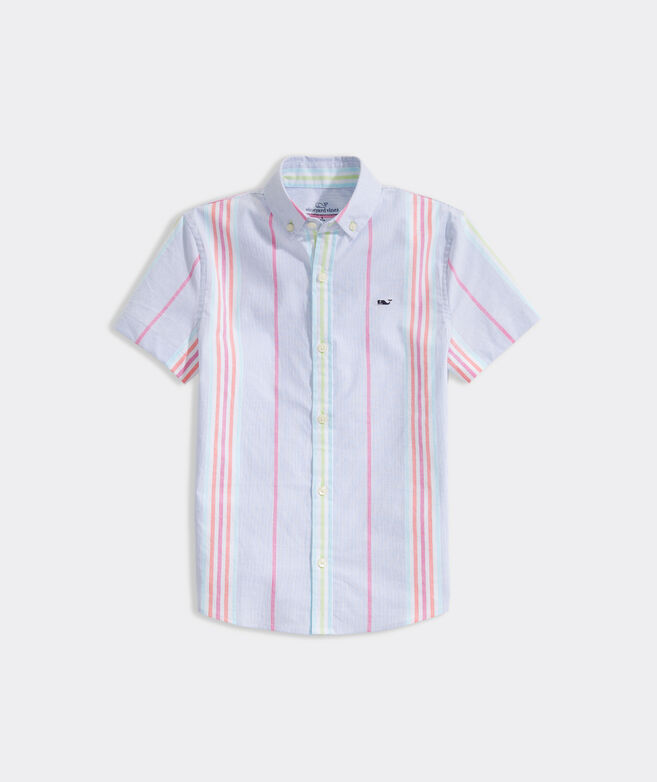 Boys' Classic Fit Striped Shirt in Stretch Cotton