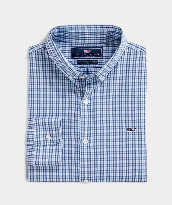 OUTLET Men's Mini Tartan Performance Slim Whale Shirt