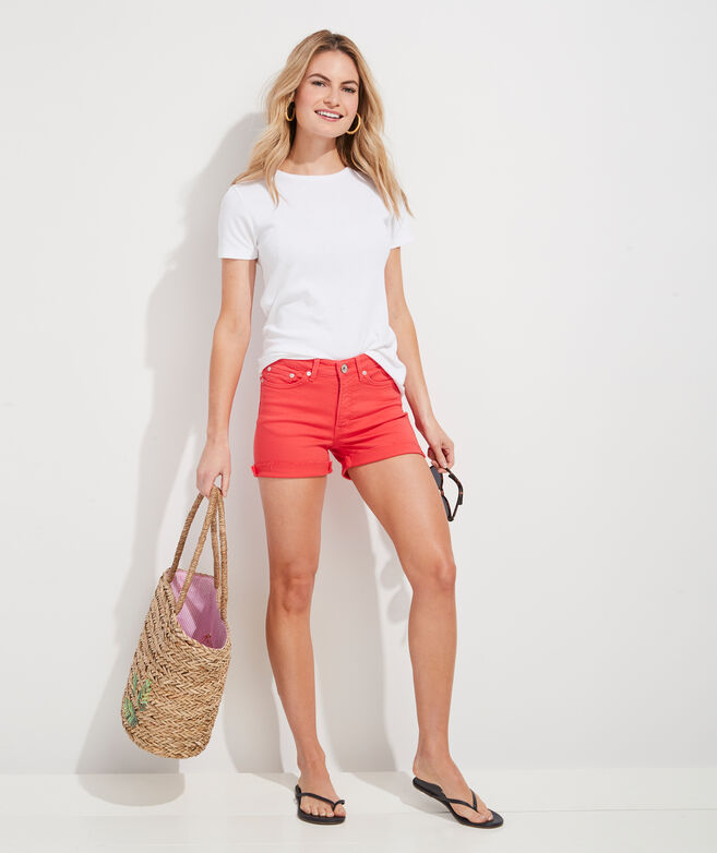 Jamie High-Rise Garment-Dyed Denim Shorts