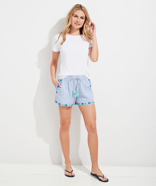 Pop Embroidered Pull-On Shorts