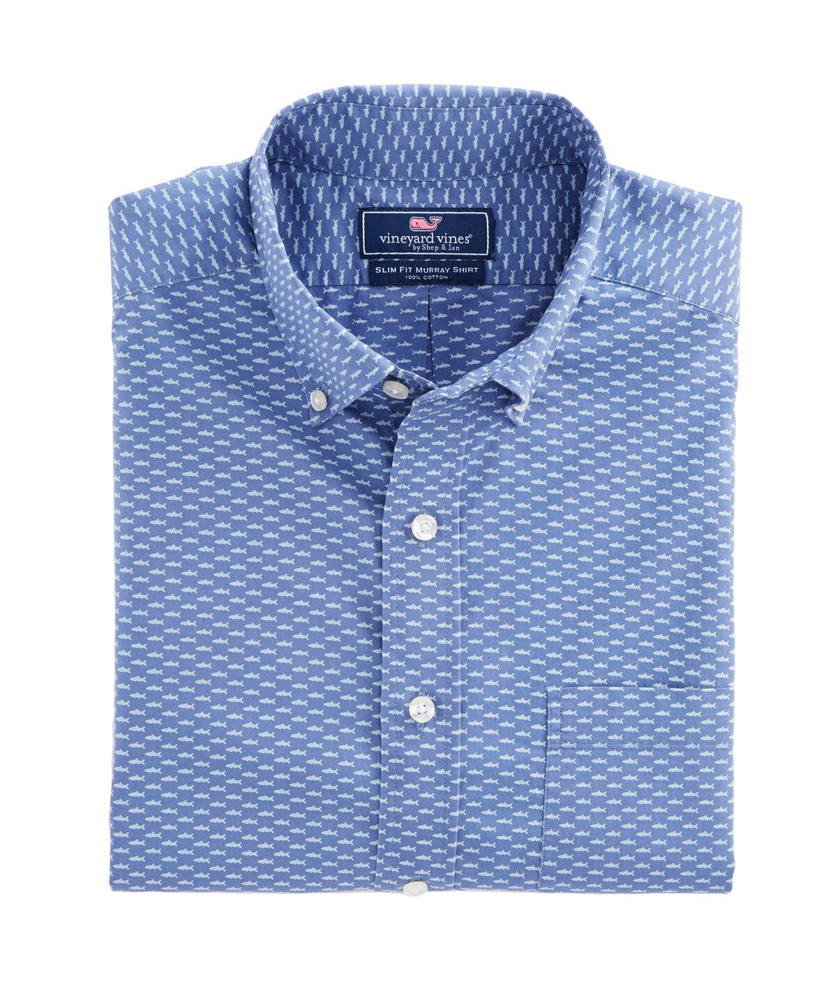 Shop micro fish print slim murray shirt at vineyard vines for Vineyard vines fishing shirt