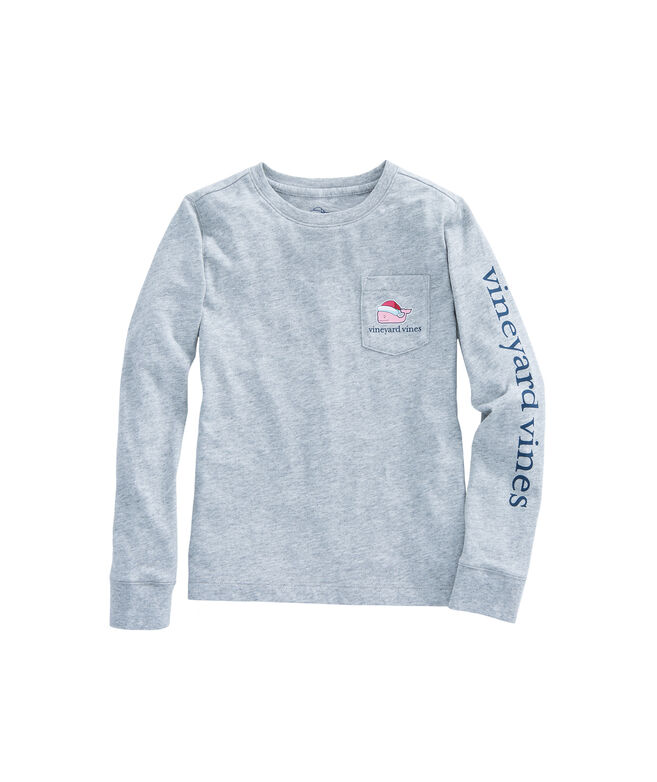 Girls Long-Sleeve Santa Whale Pocket Tee