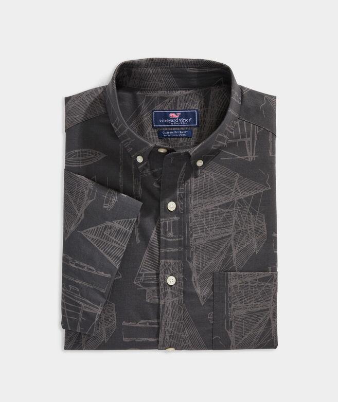 Stretch Cotton Short-Sleeve Line-Drawings Print Shirt
