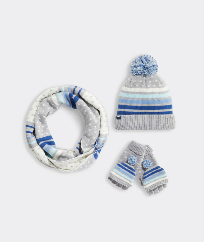 Girls' Retro Stripe Winter Accessory Set