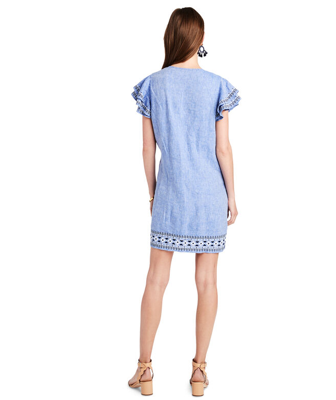 Embroidered Flutter Sleeve Vineyard Tunic Dress