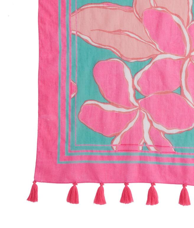 Big Floral Border Print Tassel Scarf