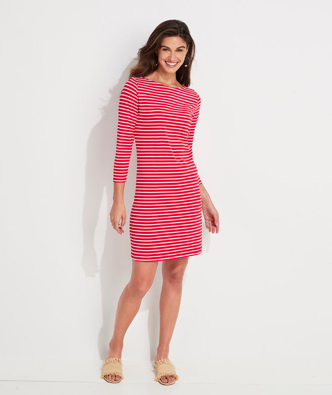 Lightweight Sankaty Stripe Boatneck Shift Dress