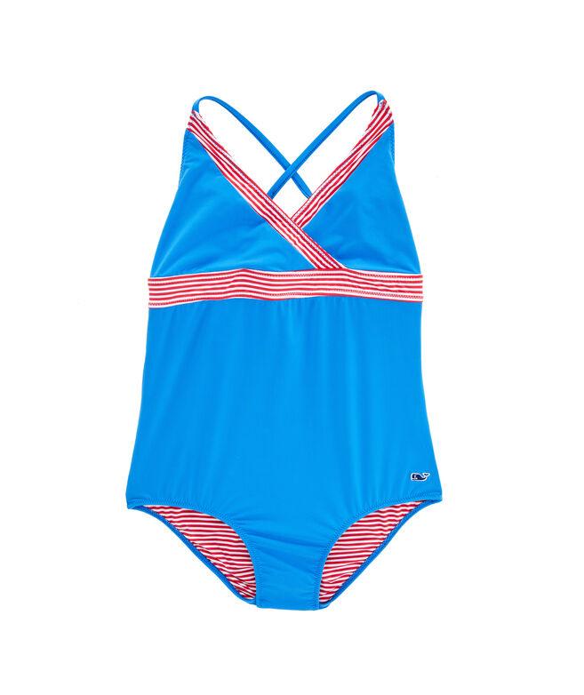 Girls Red White & Blue Sconset Stripe One-Piece