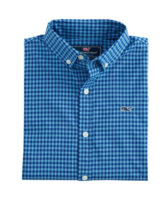 Boys Blanchard Gingham Performance Whale Shirt