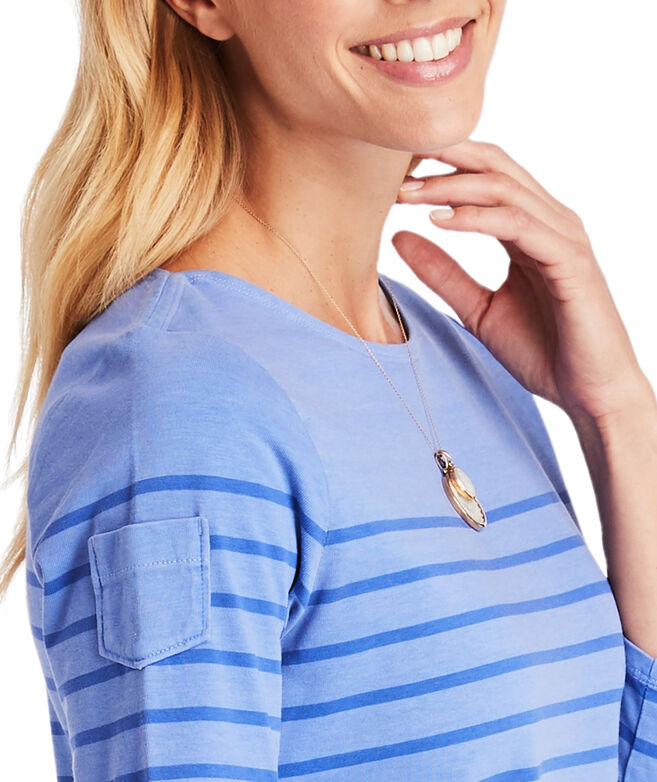 Over-Dyed Long-Sleeve Stripe Knit Dress