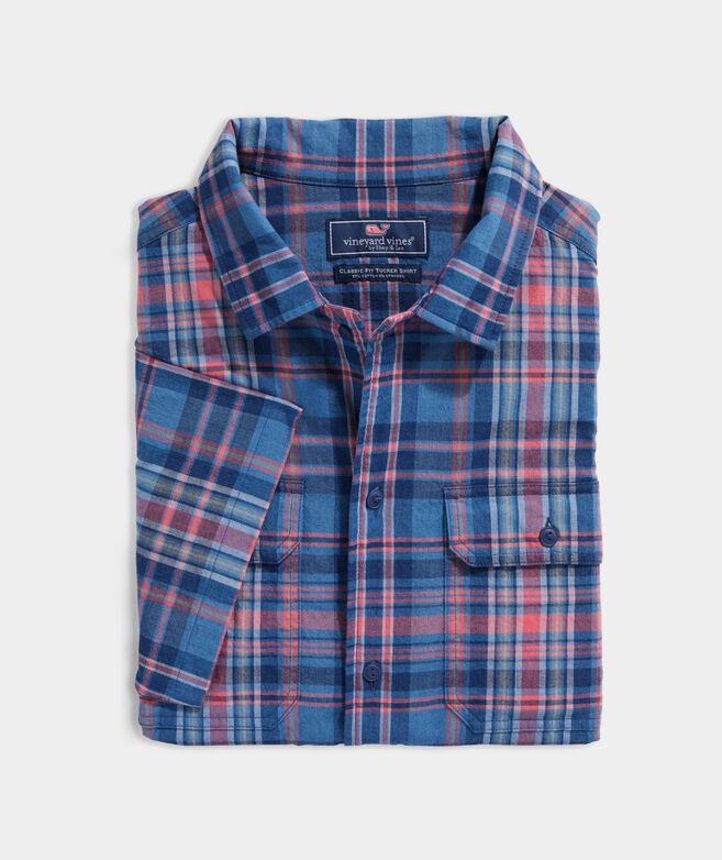 Indigo Plaid Stretch Cotton Short-Sleeve Dockman Shirt