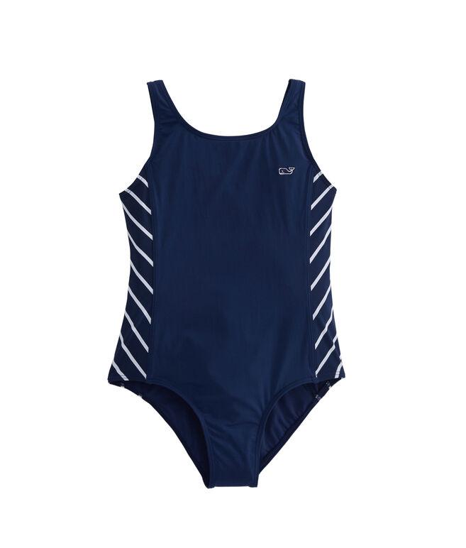 Girls Stripe Sporty One-Piece Swimsuit