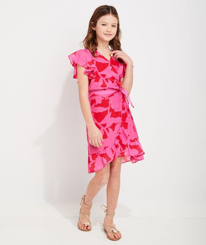Girls' Tropical Floral Wrap Dress