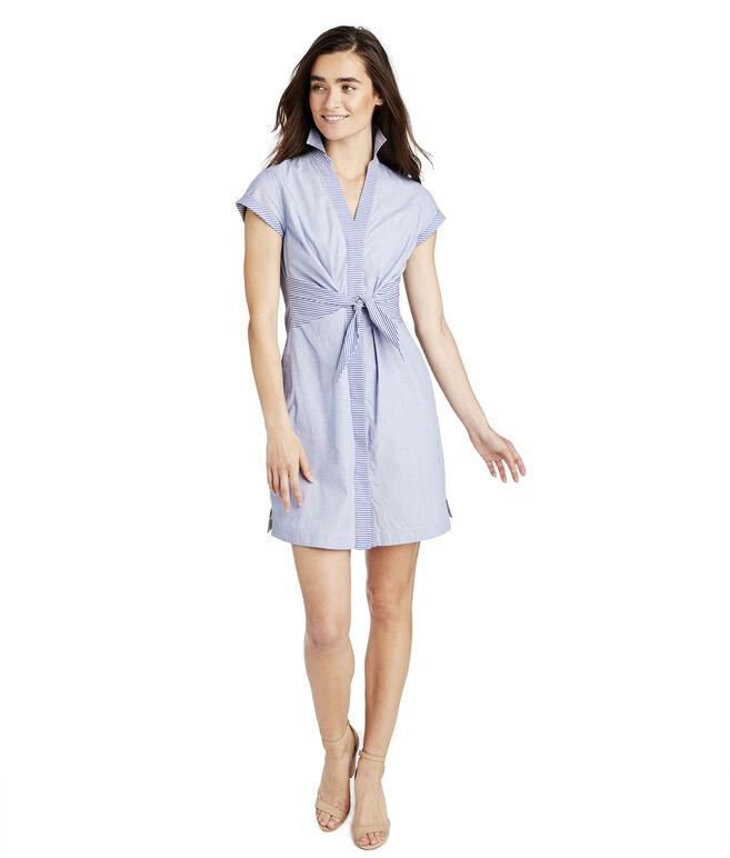 Tie Front Mix Stripe Shirt Dress
