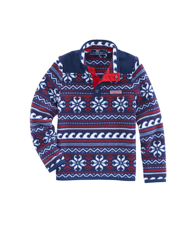 Boys Fair Isle Snap Placket Fleece