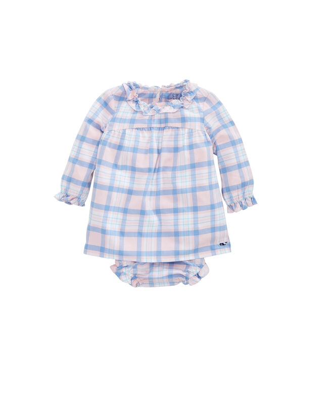Baby Girl Sea Salt Plaid Flannel Dress
