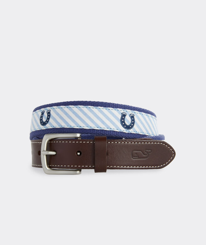 Kentucky Derby Horseshoe Embroidered Stripe Canvas Club Belt