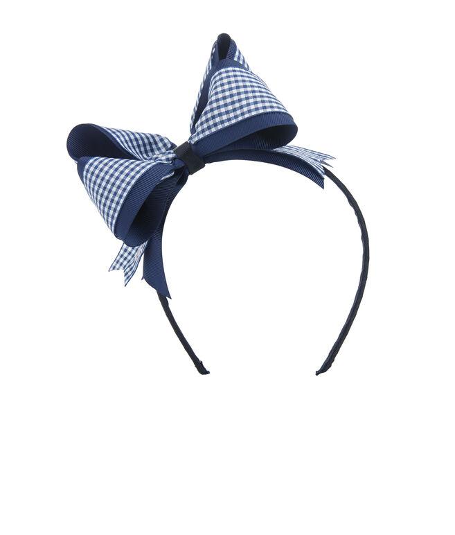 Girls Gingham Bow Headband