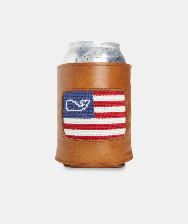 vineyard vines x Smathers & Branson Flag Whale Needlepoint Can Cooler