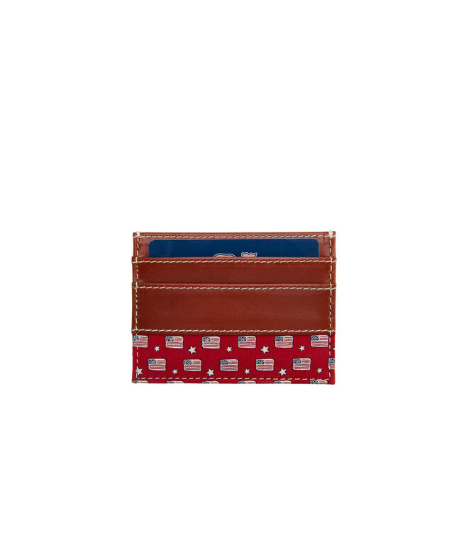 Flags & Stars Silk Trim Leather Card Case