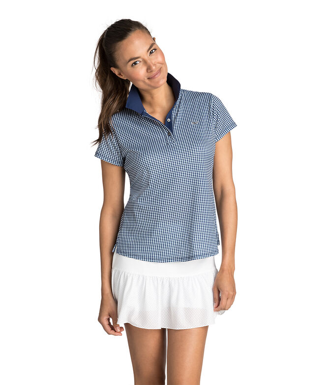 Short-Sleeve Gingham Printed Pique Polo