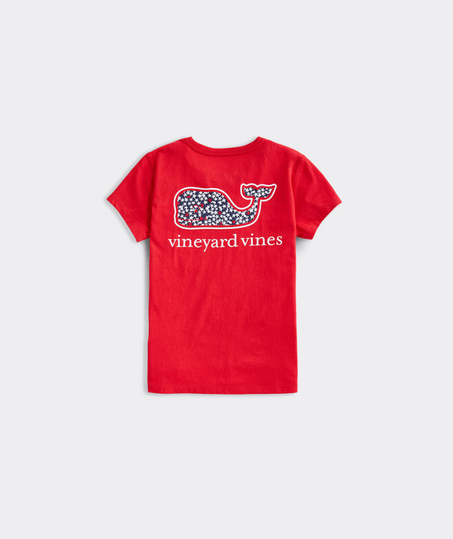 Girls' America Whales & Stars Short-Sleeve Pocket Tee