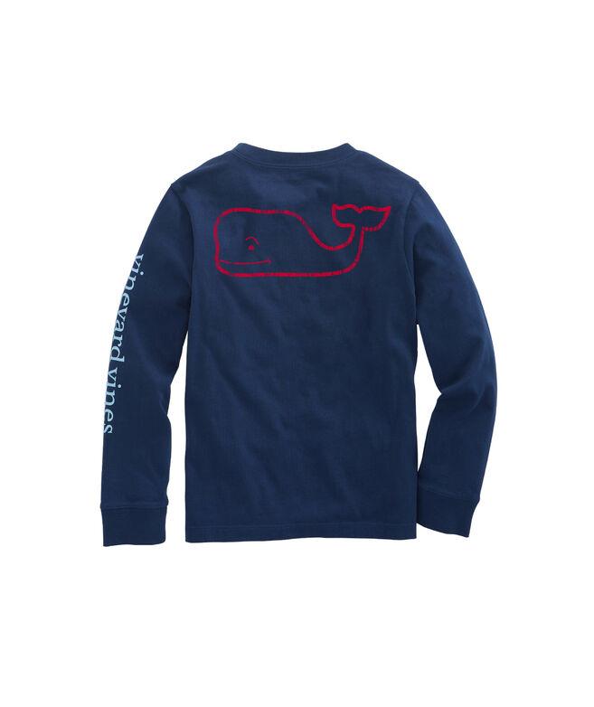 OUTLET Kids' Tri-Color Vintage Whale Long-Sleeve Pocket Tee