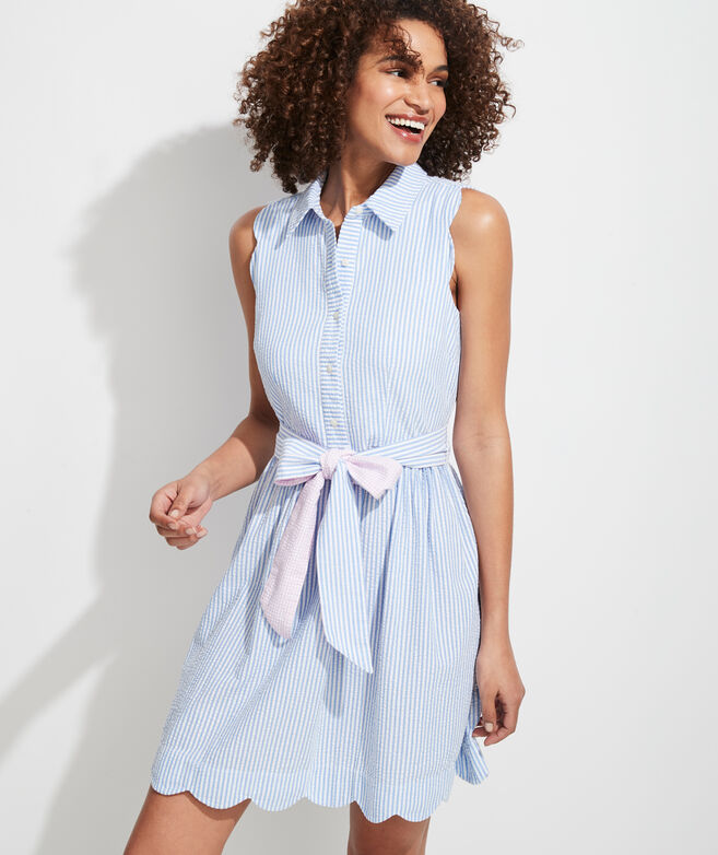 Scallop Seersucker Sleeveless Shirt Dress
