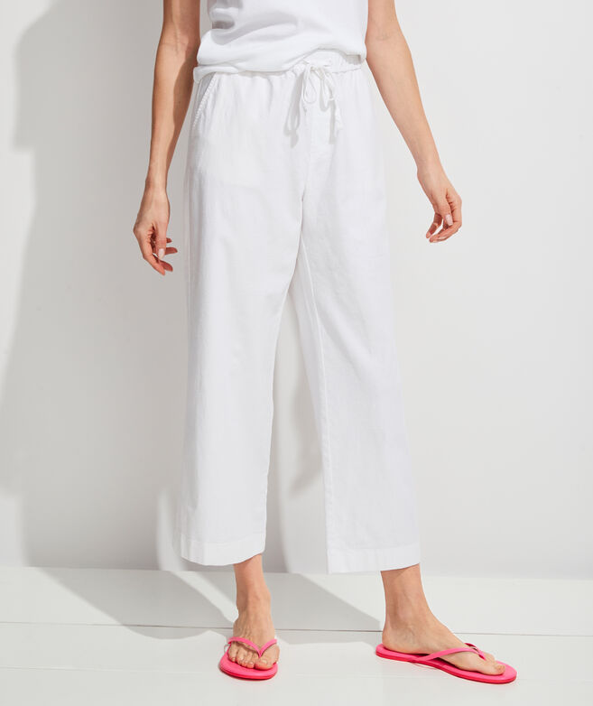 Wide-Leg Linen Pull-On Pants