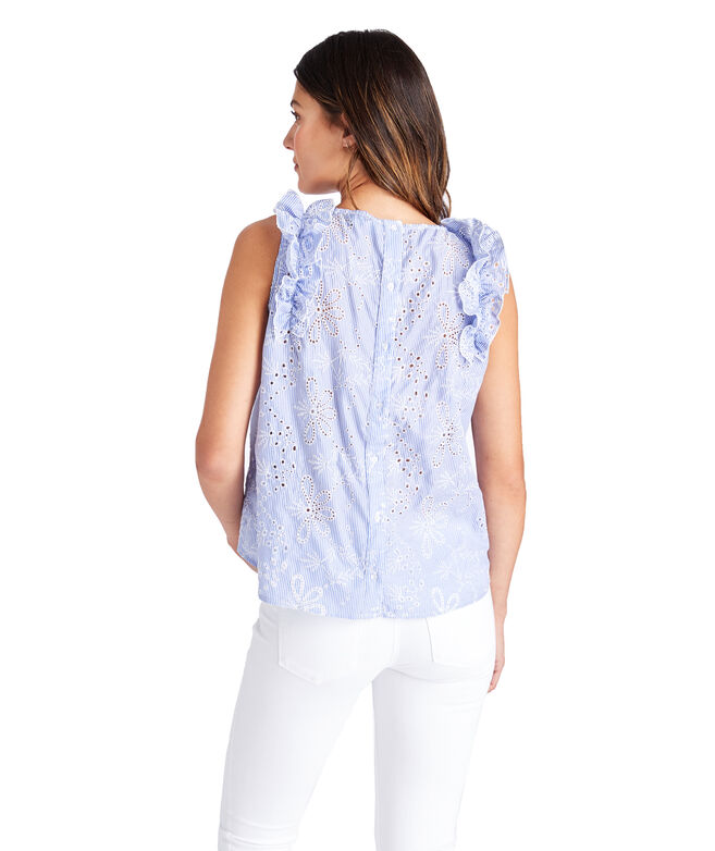 Sea Side Eyelet Sleeveless Ruffle Top