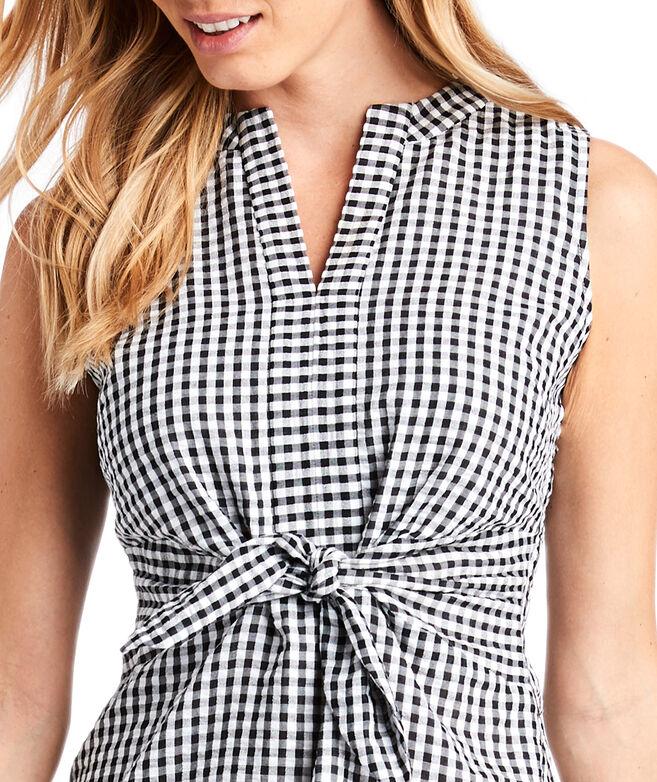 Gingham Seersucker Tie Front Dress