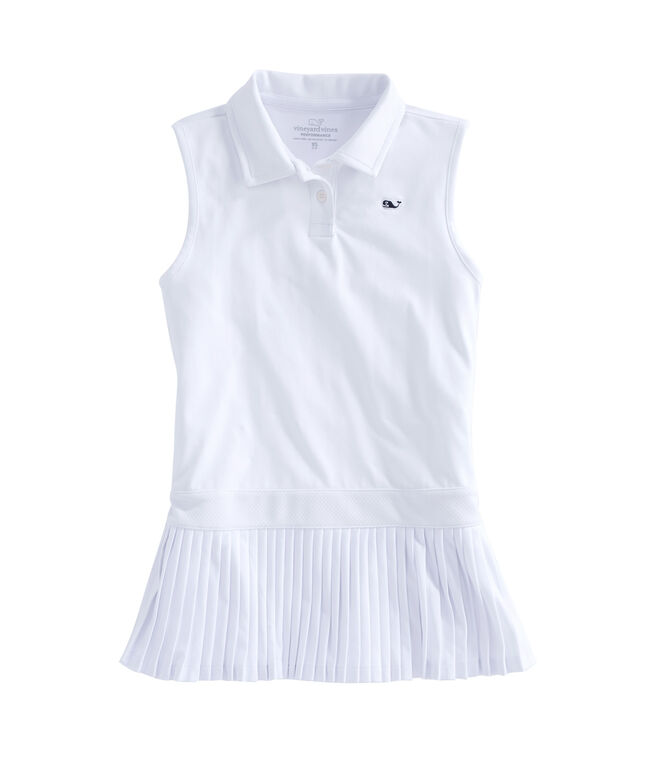 Girls Pleated Performance Polo Dress