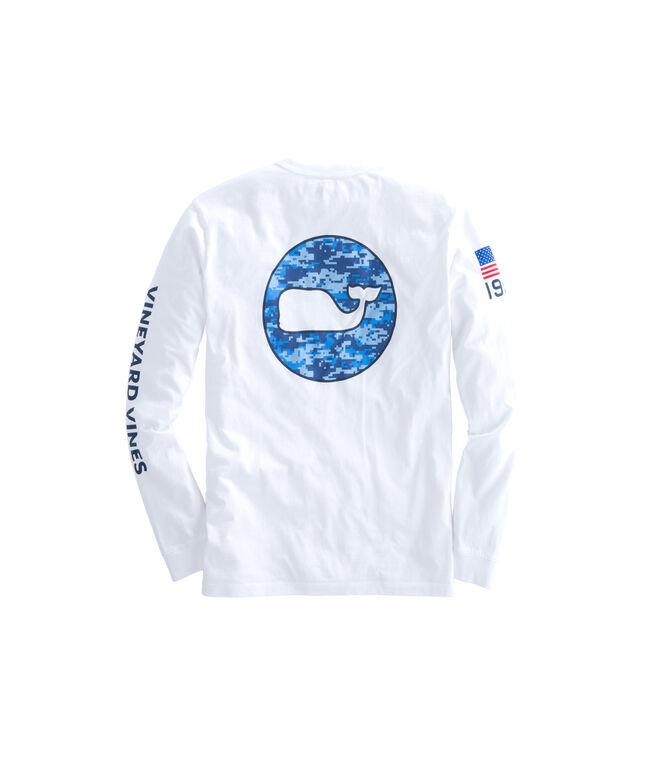 Long-Sleeve Digi Camo Whale Dot T-Shirt