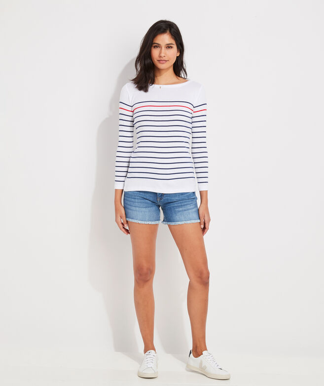 Jamie Striped Grosgrain Jean Cutoff Shorts