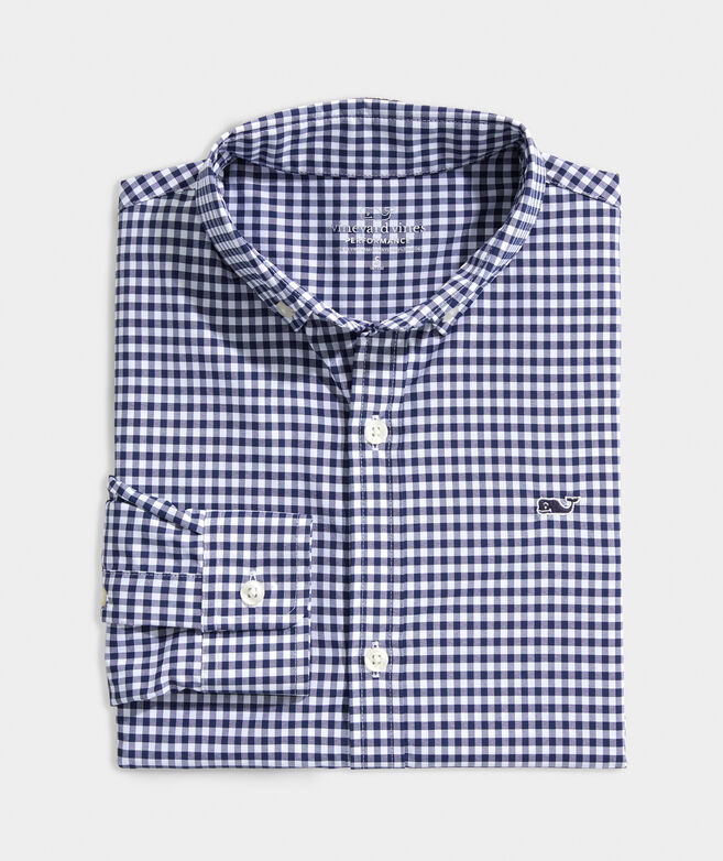 Boys Arawak Gingham On-The-Go Performance Whale Shirt