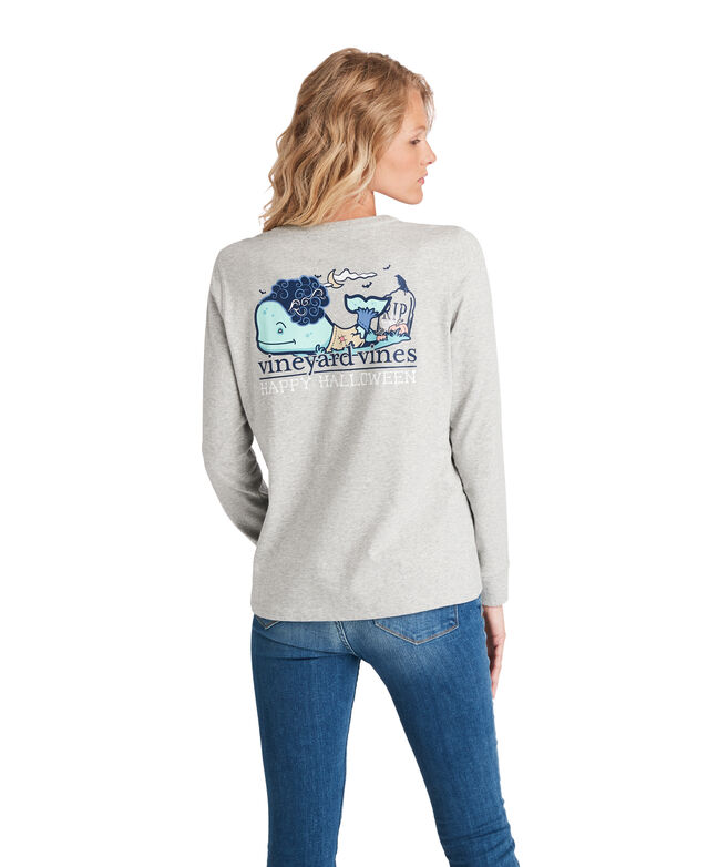 Halloween Zombie Whale Long-Sleeve Pocket Tee