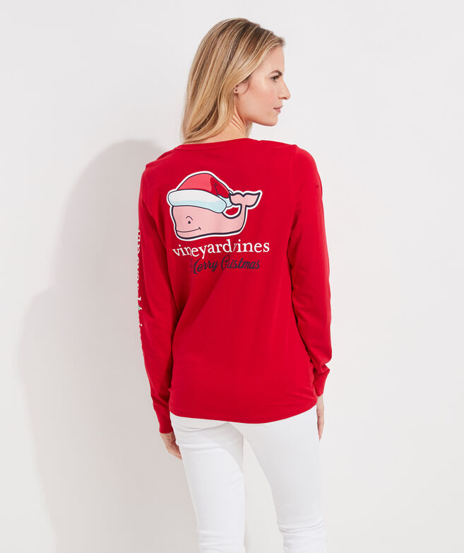Santa Whale Long-Sleeve Pocket Tee