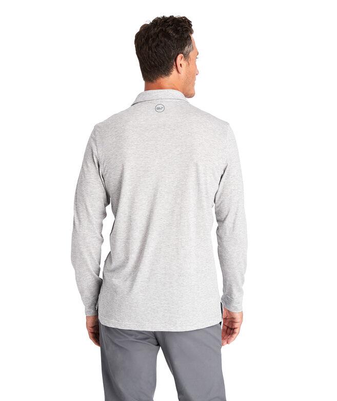 Carmel Heathered Wide Stripe Long-Sleeve Polo