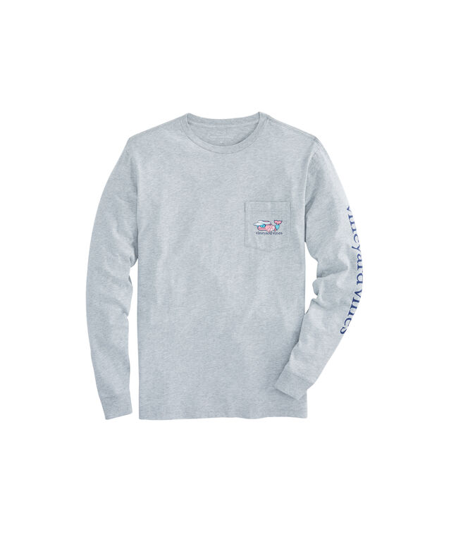 Long-Sleeve Vacation Whale Pocket T-Shirt