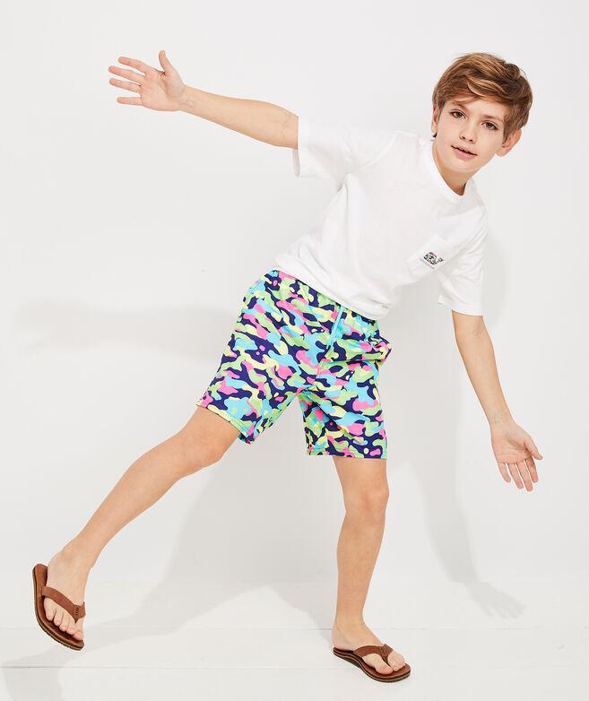 Boys Short-Sleeve Neon Camo Whale Fill Pocket Tee