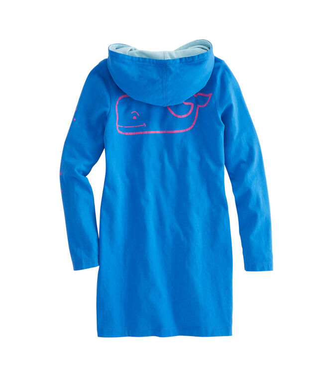 Girls Long-Sleeve Vintage Whale Hoodie Tee Dress