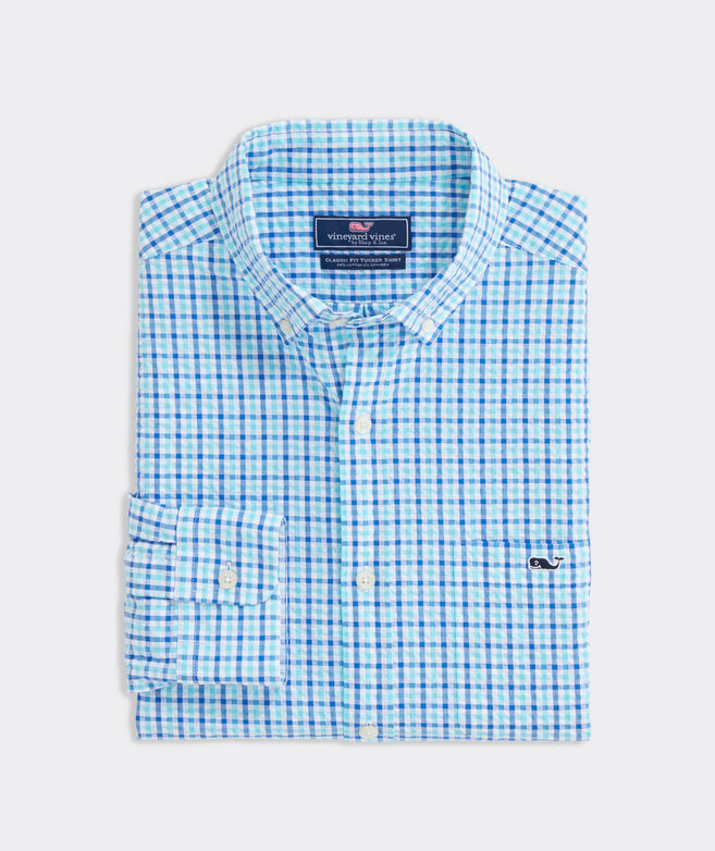 Classic Fit Saunders Seersucker Tucker Button-Down Shirt